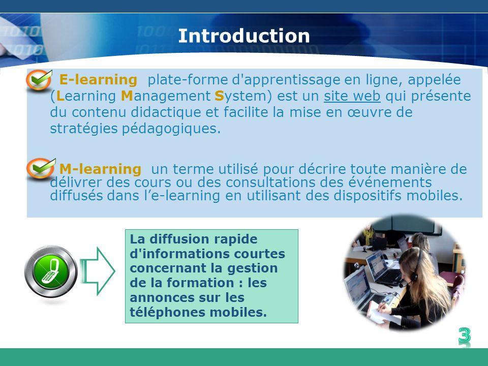 Introduction E-learning plate-forme d'apprentissage en ligne, appelée (Learning Management System) est un site web qui présente du contenu didactique