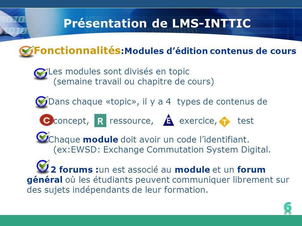 Présentation de LMS-INTTIC Fonctionnalités :Modules dédition contenus de cours Les modules sont divisés en topic (semaine travail ou chapitre de cours