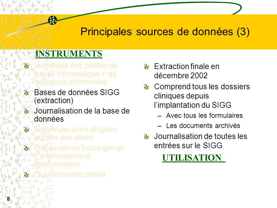 7 Principales sources de données (2) Inventaire des postes de travail informatique + qq questions informelles Bases de données SIGG- SIGG (extraction)