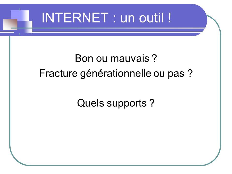 INTERNET : un outil ! Bon ou mauvais ? Fracture générationnelle ou pas ? Quels supports ?