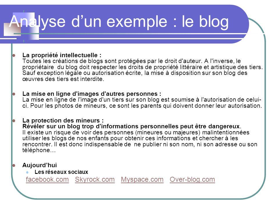 Analyse dun exemple : le blog La propriété intellectuelle : Toutes les créations de blogs sont protégées par le droit d'auteur. A l'inverse, le propri