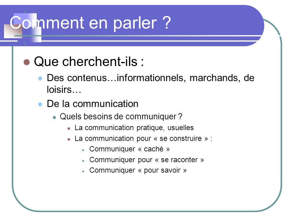 Comment en parler ? Que cherchent-ils : Des contenus…informationnels, marchands, de loisirs… De la communication Quels besoins de communiquer ? La com
