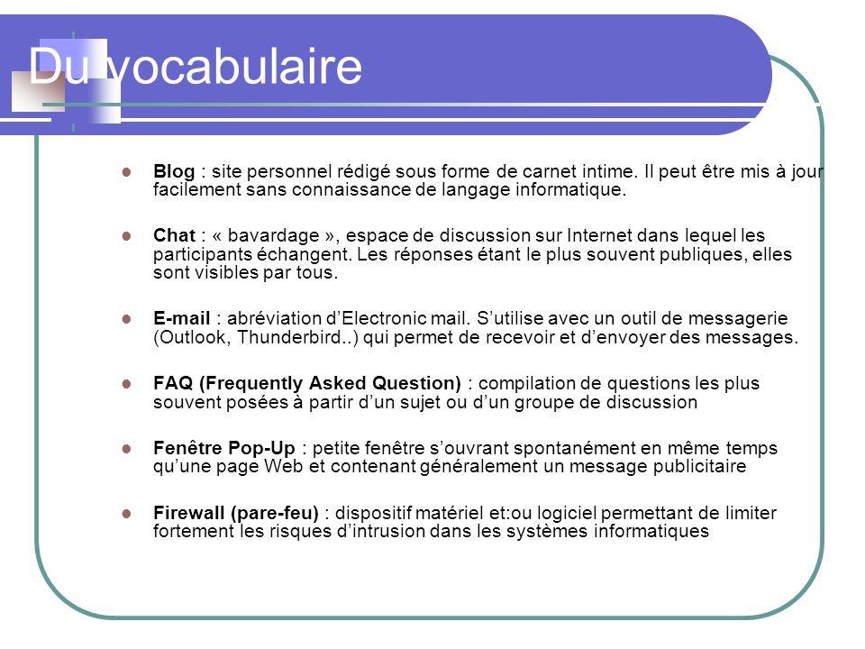 Du vocabulaire Forum de discussion : service du Web permettant aux internautes denvoyer des messages.