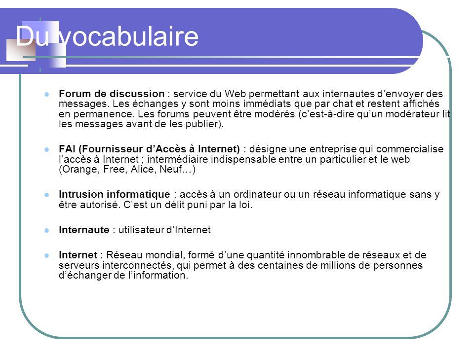 Du vocabulaire Lien Hypertexte : textes ou images liés à une adresse internet qui permettent de naviguer vers dautres documents.