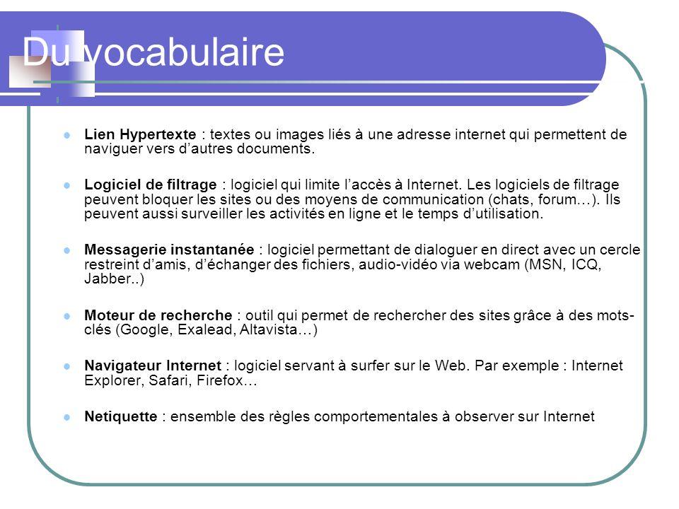 Du vocabulaire Lien Hypertexte : textes ou images liés à une adresse internet qui permettent de naviguer vers dautres documents. Logiciel de filtrage