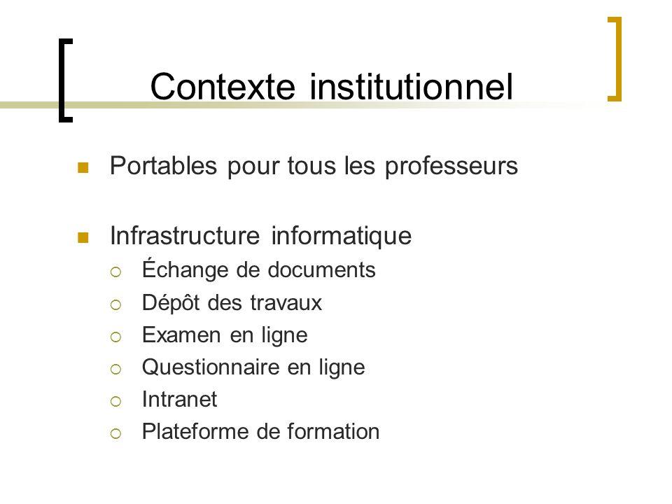 Contexte institutionnel Portables pour tous les professeurs Infrastructure informatique Échange de documents Dépôt des travaux Examen en ligne Questionnaire en ligne Intranet Plateforme de formation