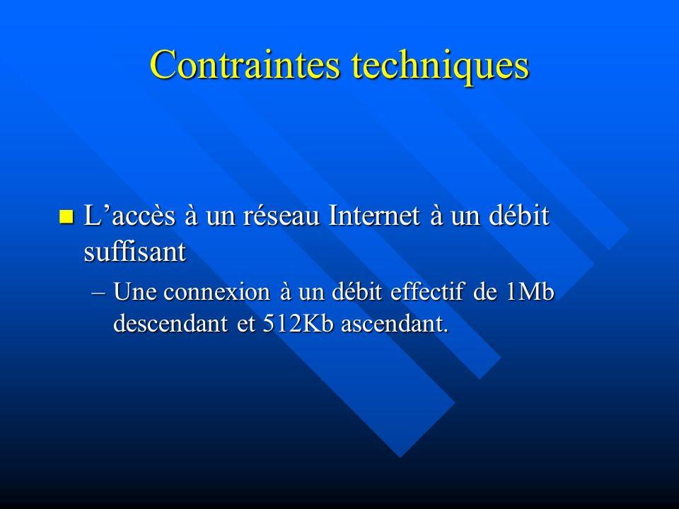 Contraintes techniques Laccès à un réseau Internet à un débit suffisant Laccès à un réseau Internet à un débit suffisant –Une connexion à un débit effectif de 1Mb descendant et 512Kb ascendant.