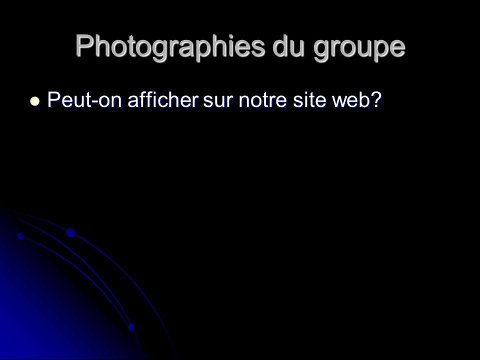 Photographies du groupe Peut-on afficher sur notre site web Peut-on afficher sur notre site web