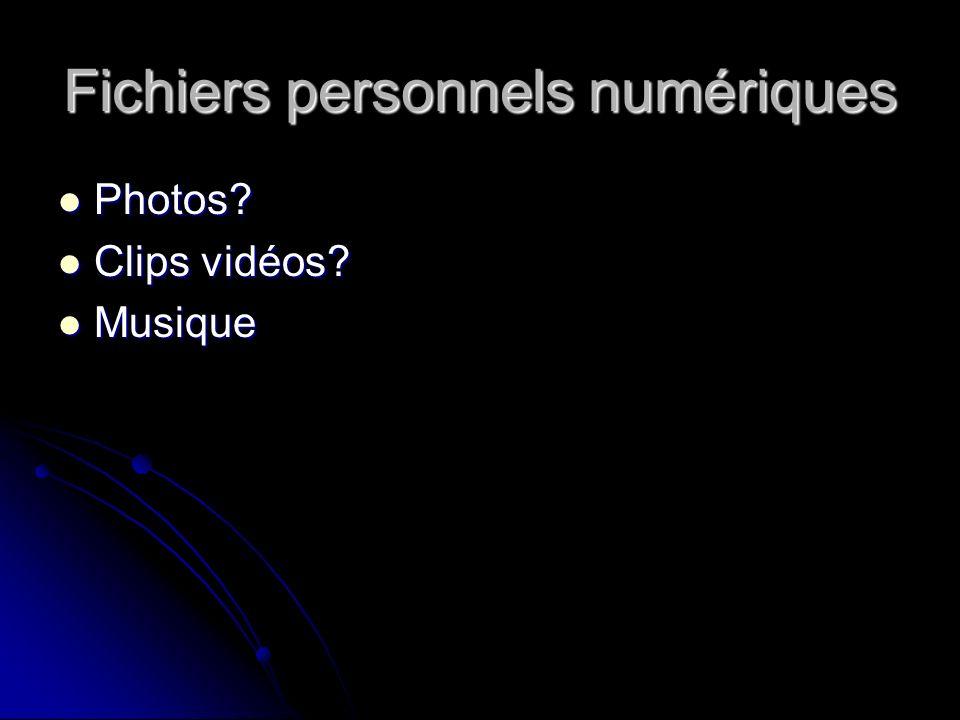 Fichiers personnels numériques Photos Photos Clips vidéos Clips vidéos Musique Musique