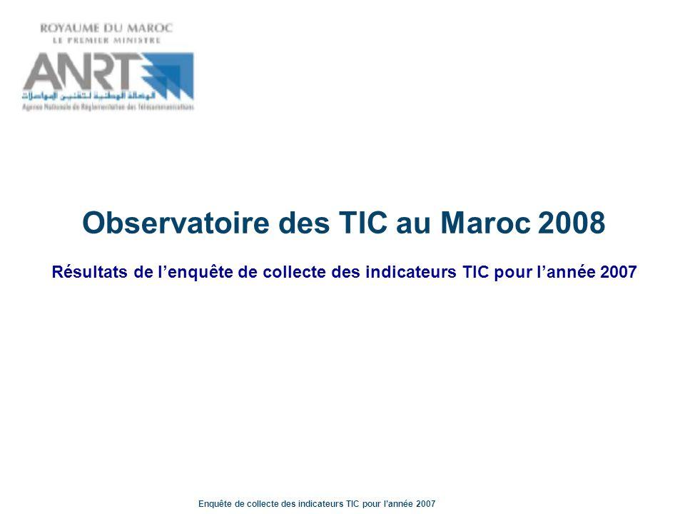 Enquête de collecte des indicateurs TIC pour lannée 2007 Eléments contextuels La répartition géographique des entreprises du Kompass La répartition géographique un tiers des entreprises interrogées sont situées à Casablanca