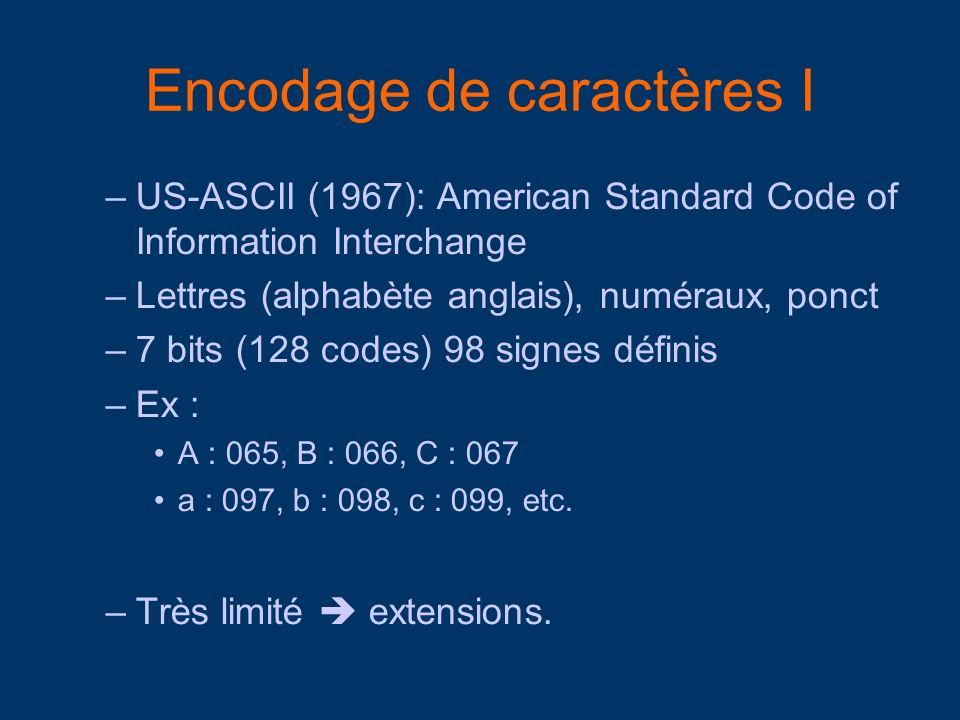 Encodage de caractères I –US-ASCII (1967): American Standard Code of Information Interchange –Lettres (alphabète anglais), numéraux, ponct –7 bits (12