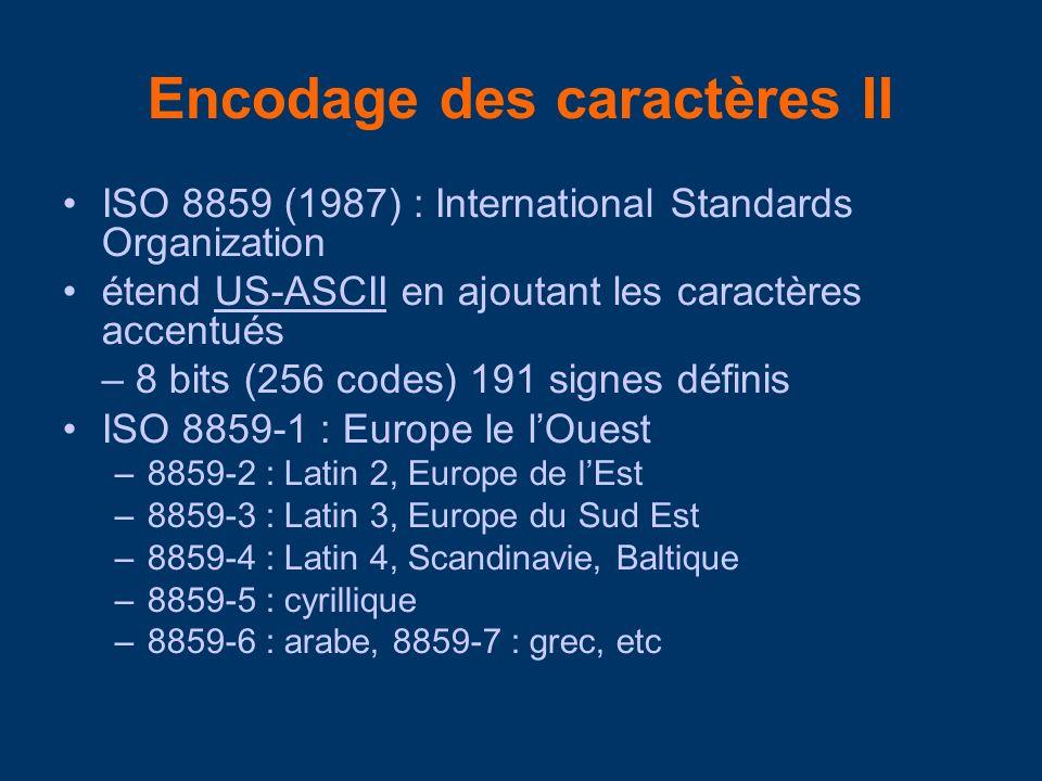Encodage des caractères II ISO 8859 (1987) : International Standards Organization étend US-ASCII en ajoutant les caractères accentuésUS-ASCII – 8 bits