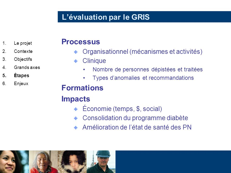 Lévaluation par le GRIS Processus Organisationnel (mécanismes et activités) Clinique Nombre de personnes dépistées et traitées Types danomalies et rec