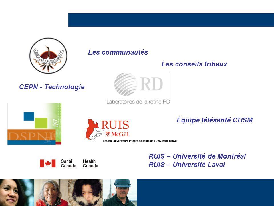 CEPN - Technologie Équipe télésanté CUSM RUIS – Université de Montréal RUIS – Université Laval Les communautés Les conseils tribaux