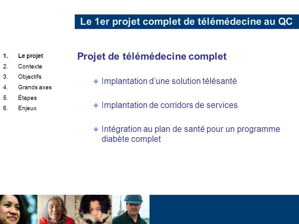 Le 1er projet complet de télémédecine au QC Projet de télémédecine complet Implantation dune solution télésanté Implantation de corridors de services