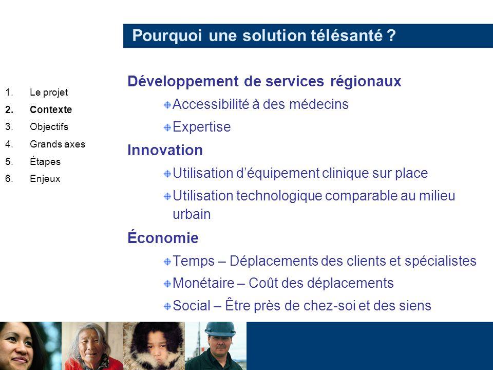Pourquoi une solution télésanté ? Développement de services régionaux Accessibilité à des médecins Expertise Innovation Utilisation déquipement cliniq