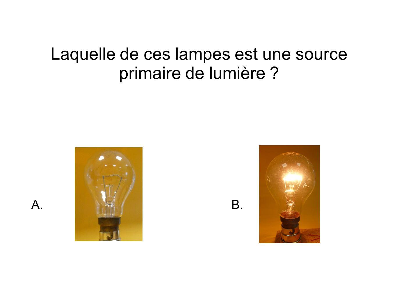 Laquelle de ces lampes est une source primaire de lumière A.B.
