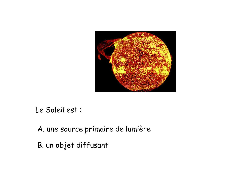 Le Soleil est : A. une source primaire de lumière B. un objet diffusant