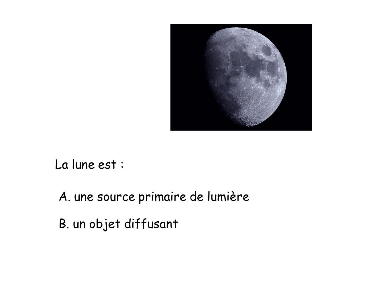 La lune est : A. une source primaire de lumière B. un objet diffusant