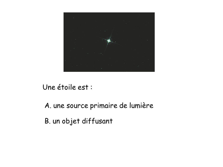 Une étoile est : A. une source primaire de lumière B. un objet diffusant