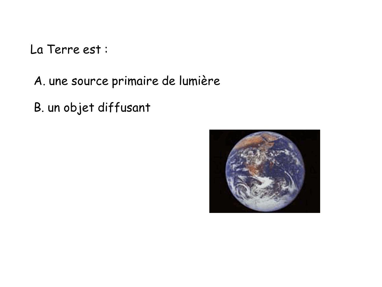 La Terre est : A. une source primaire de lumière B. un objet diffusant