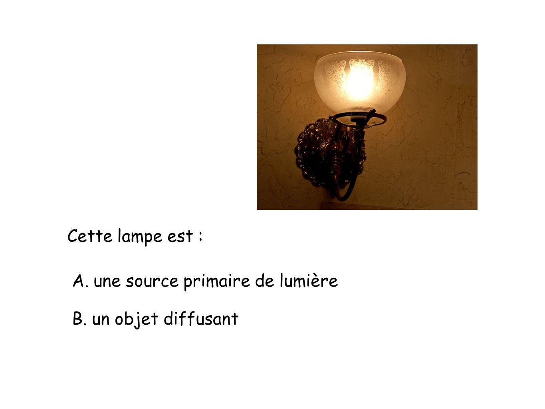 Cette lampe est : A. une source primaire de lumière B. un objet diffusant