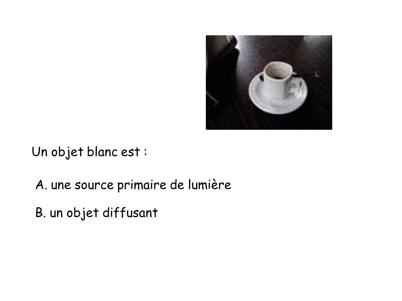 Un objet blanc est : A. une source primaire de lumière B. un objet diffusant