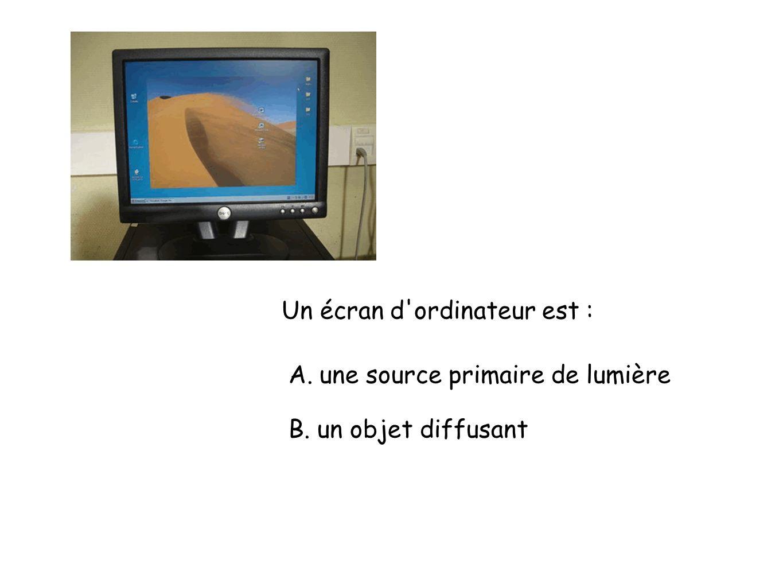 Un écran d ordinateur est : A. une source primaire de lumière B. un objet diffusant