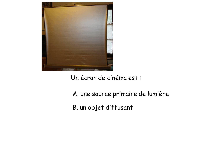 Un écran de cinéma est : A. une source primaire de lumière B. un objet diffusant
