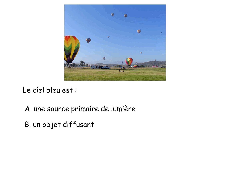 Le ciel bleu est : A. une source primaire de lumière B. un objet diffusant