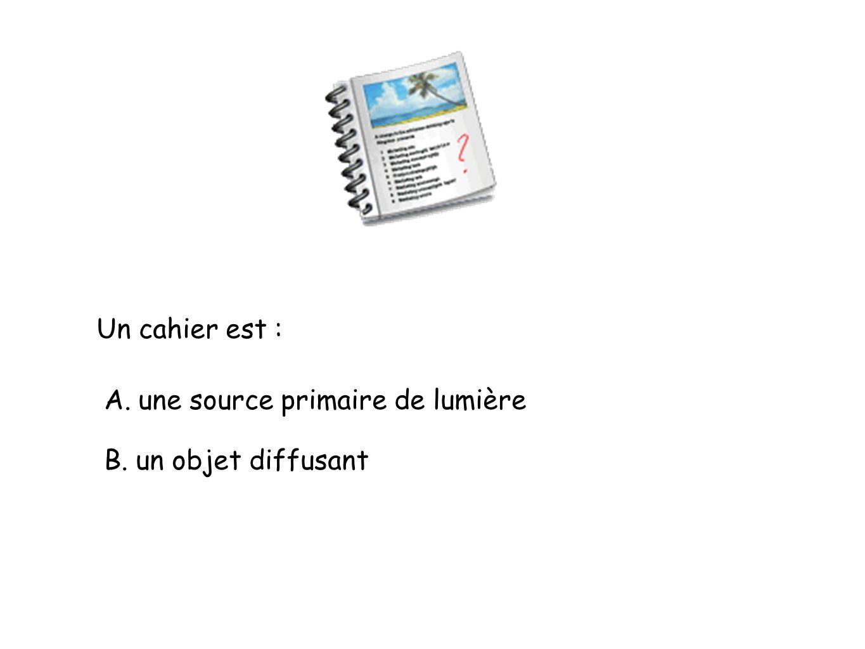 Un cahier est : A. une source primaire de lumière B. un objet diffusant