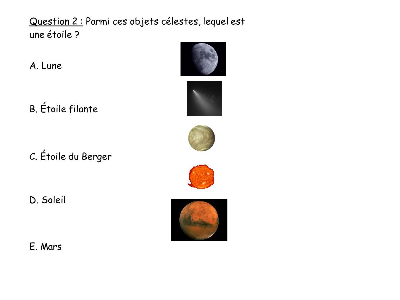 Question 2 : Parmi ces objets célestes, lequel est une étoile .