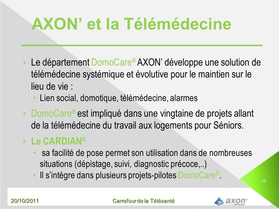 20/10/2011 Carrefour de la Télésanté 17 Le département DomoCare ® AXON développe une solution de télémédecine systémique et évolutive pour le maintien