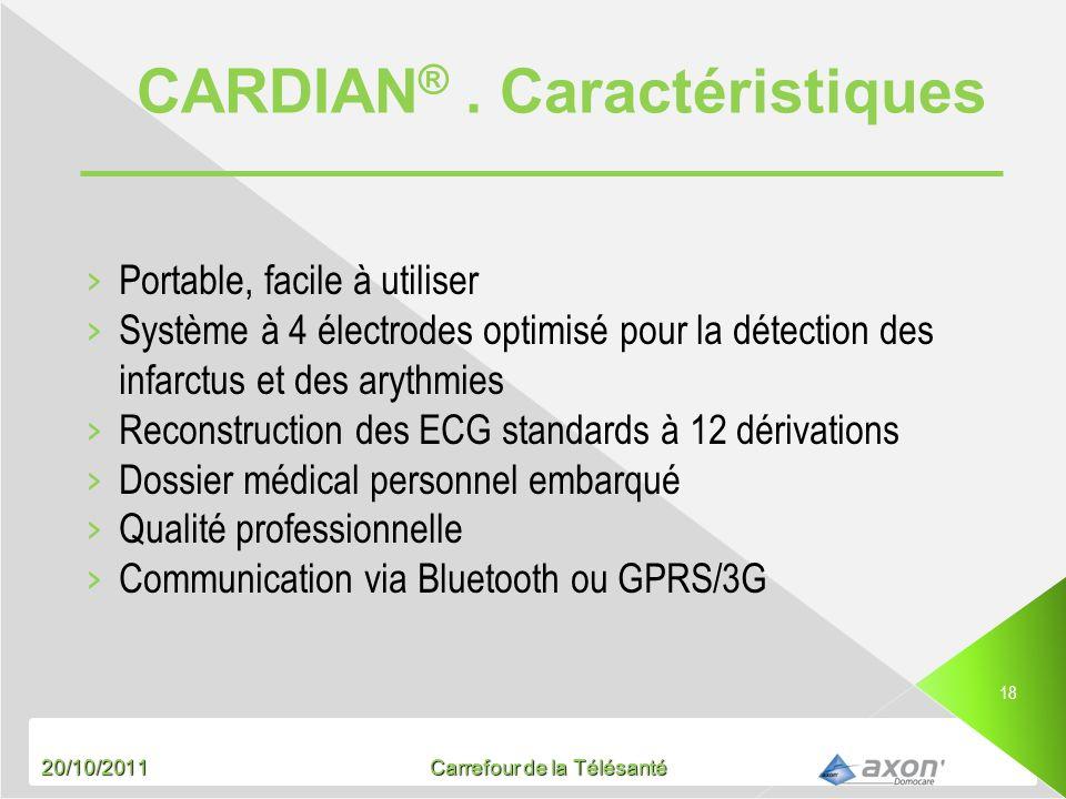 20/10/2011 Carrefour de la Télésanté 18 Portable, facile à utiliser Système à 4 électrodes optimisé pour la détection des infarctus et des arythmies R