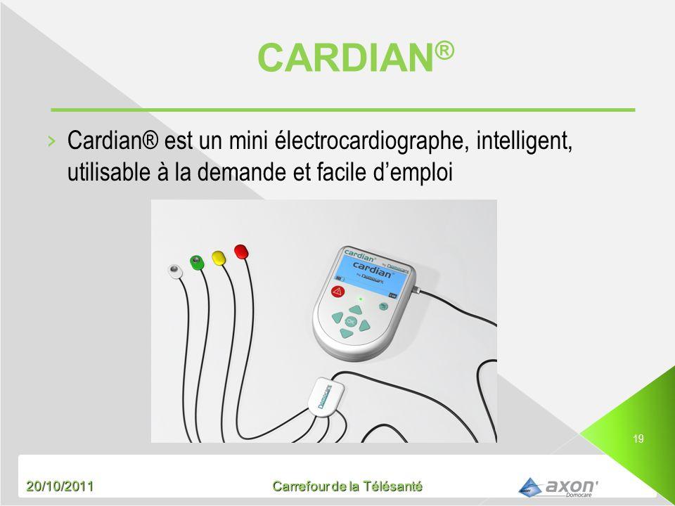 20/10/2011 Carrefour de la Télésanté 19 Cardian® est un mini électrocardiographe, intelligent, utilisable à la demande et facile demploi
