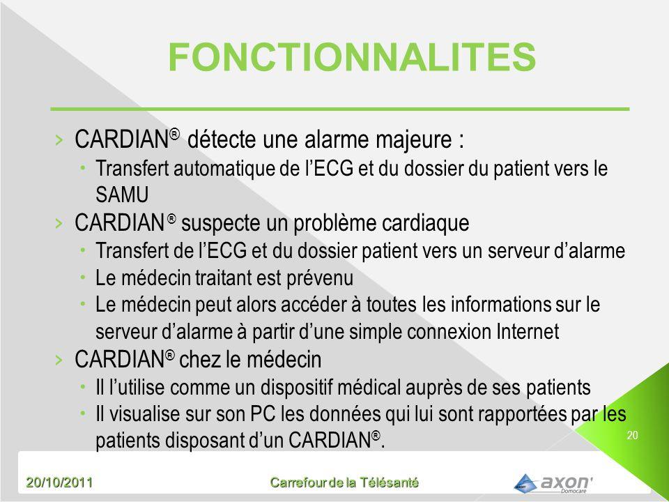 20/10/2011 Carrefour de la Télésanté 20 CARDIAN ® détecte une alarme majeure : Transfert automatique de lECG et du dossier du patient vers le SAMU CAR