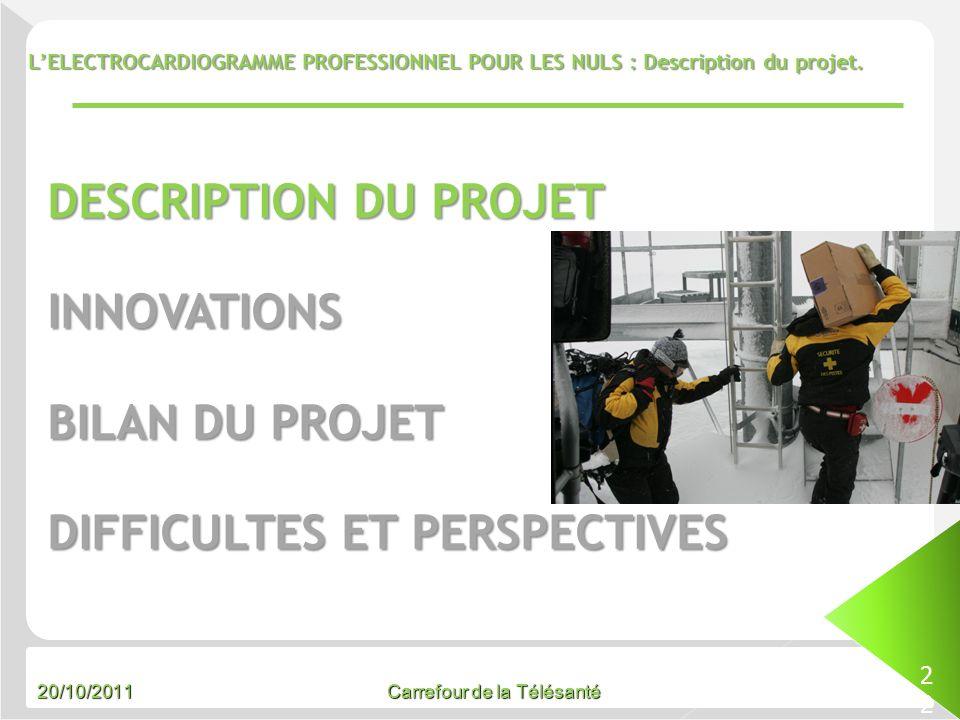 20/10/2011 Carrefour de la Télésanté LELECTROCARDIOGRAMME PROFESSIONNEL POUR LES NULS : Description du projet. 22 DESCRIPTION DU PROJET INNOVATIONS BI