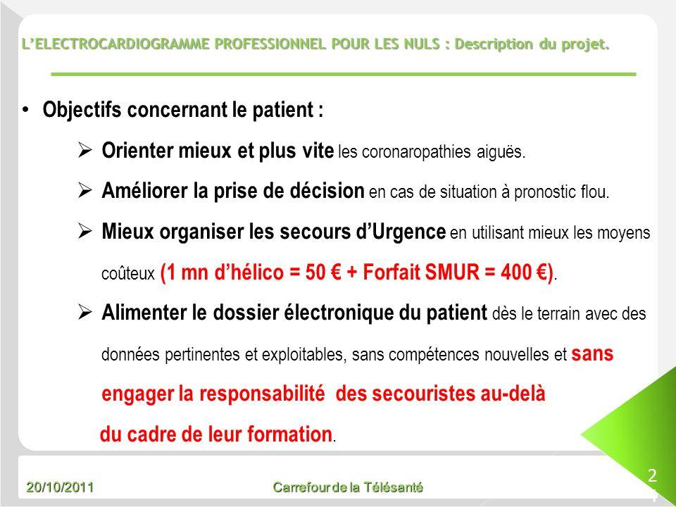 20/10/2011 Carrefour de la Télésanté LELECTROCARDIOGRAMME PROFESSIONNEL POUR LES NULS : Description du projet. 24 Objectifs concernant le patient : Or