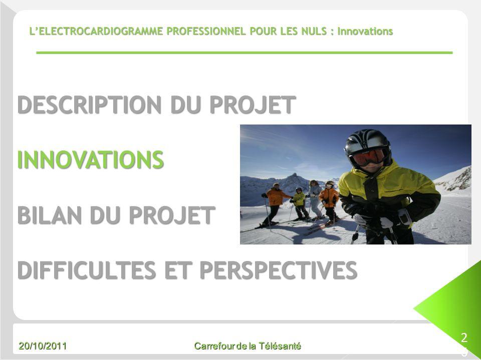 20/10/2011 Carrefour de la Télésanté LELECTROCARDIOGRAMME PROFESSIONNEL POUR LES NULS : Innovations 26 DESCRIPTION DU PROJET INNOVATIONS BILAN DU PROJ