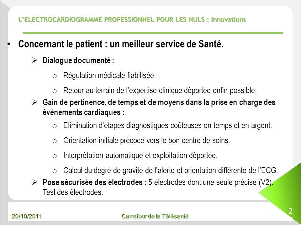 20/10/2011 Carrefour de la Télésanté LELECTROCARDIOGRAMME PROFESSIONNEL POUR LES NULS : Innovations 27 Concernant le patient : un meilleur service de
