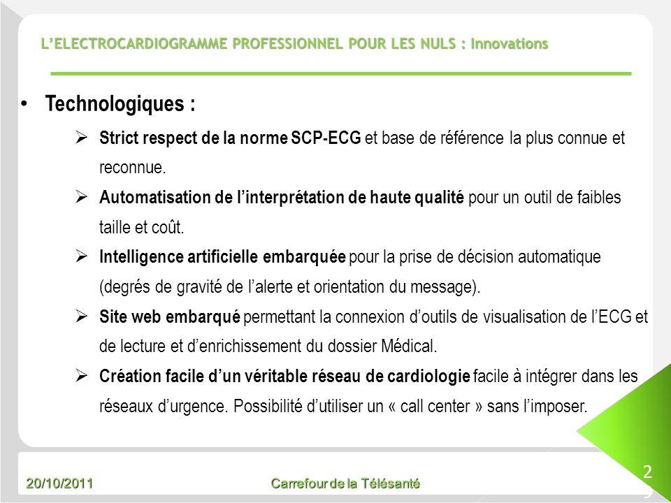 20/10/2011 Carrefour de la Télésanté LELECTROCARDIOGRAMME PROFESSIONNEL POUR LES NULS : Innovations 29 Technologiques : Strict respect de la norme SCP