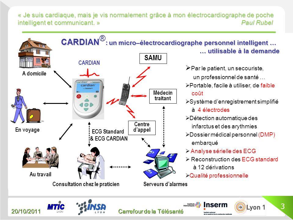 20/10/2011 Carrefour de la Télésanté « Je suis cardiaque, mais je vis normalement grâce à mon électrocardiographe de poche intelligent et communicant.