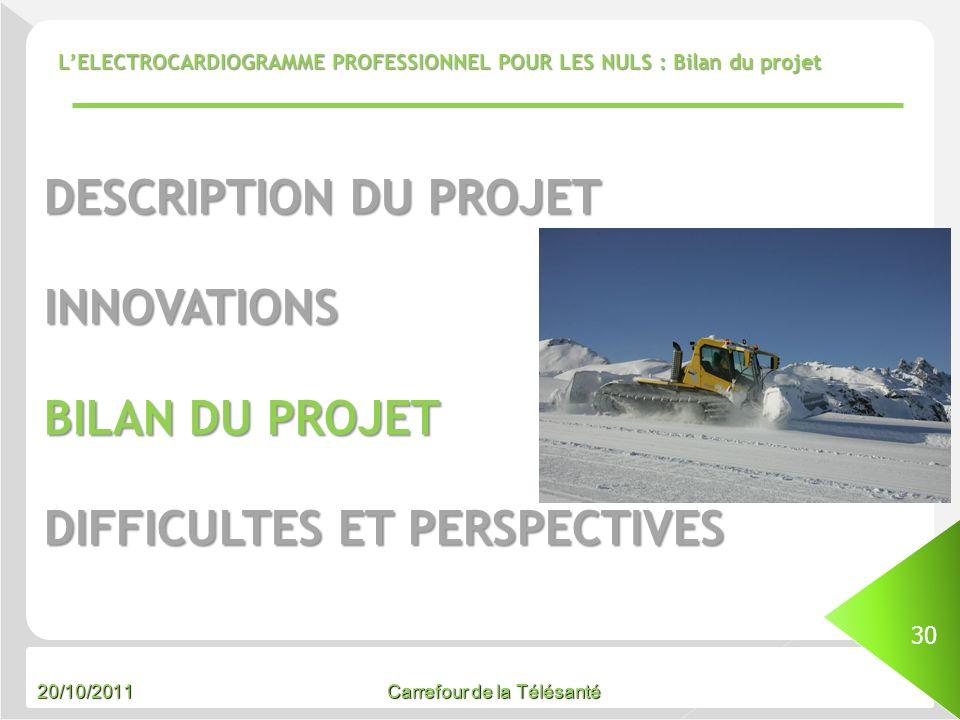 20/10/2011 Carrefour de la Télésanté LELECTROCARDIOGRAMME PROFESSIONNEL POUR LES NULS : Bilan du projet 30 DESCRIPTION DU PROJET INNOVATIONS BILAN DU