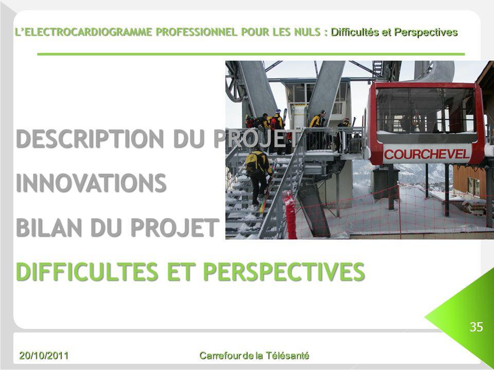 20/10/2011 Carrefour de la Télésanté LELECTROCARDIOGRAMME PROFESSIONNEL POUR LES NULS : Difficultés et Perspectives 35 DESCRIPTION DU PROJET INNOVATIO