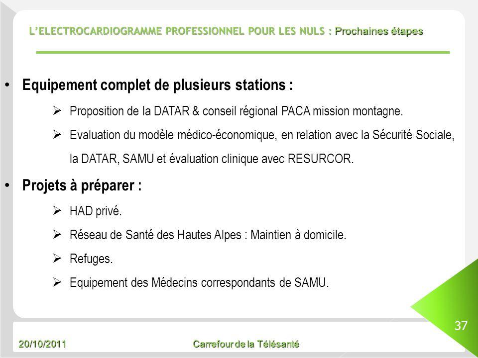 20/10/2011 Carrefour de la Télésanté LELECTROCARDIOGRAMME PROFESSIONNEL POUR LES NULS : Prochaines étapes 37 Equipement complet de plusieurs stations