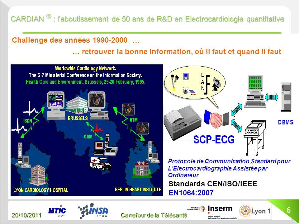 20/10/2011 Carrefour de la Télésanté CARDIAN ® : laboutissement de 50 ans de R&D en Electrocardiologie quantitative 6 Challenge des années 1990-2000 …