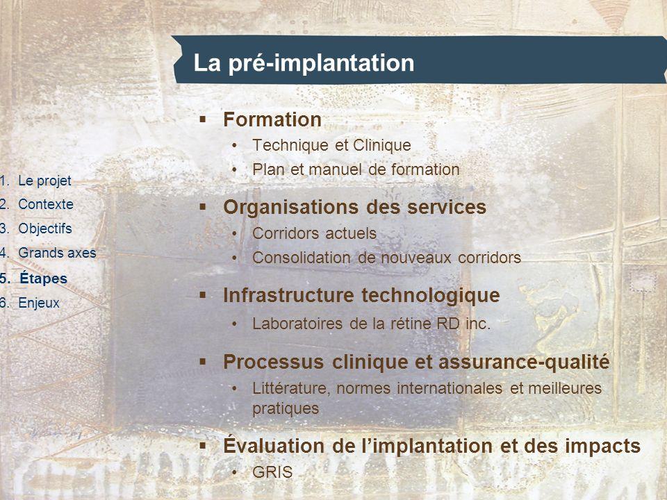 La pré-implantation 1. Le projet 2. Contexte 3. Objectifs 4. Grands axes 5. Étapes 6. Enjeux Formation Technique et Clinique Plan et manuel de formati