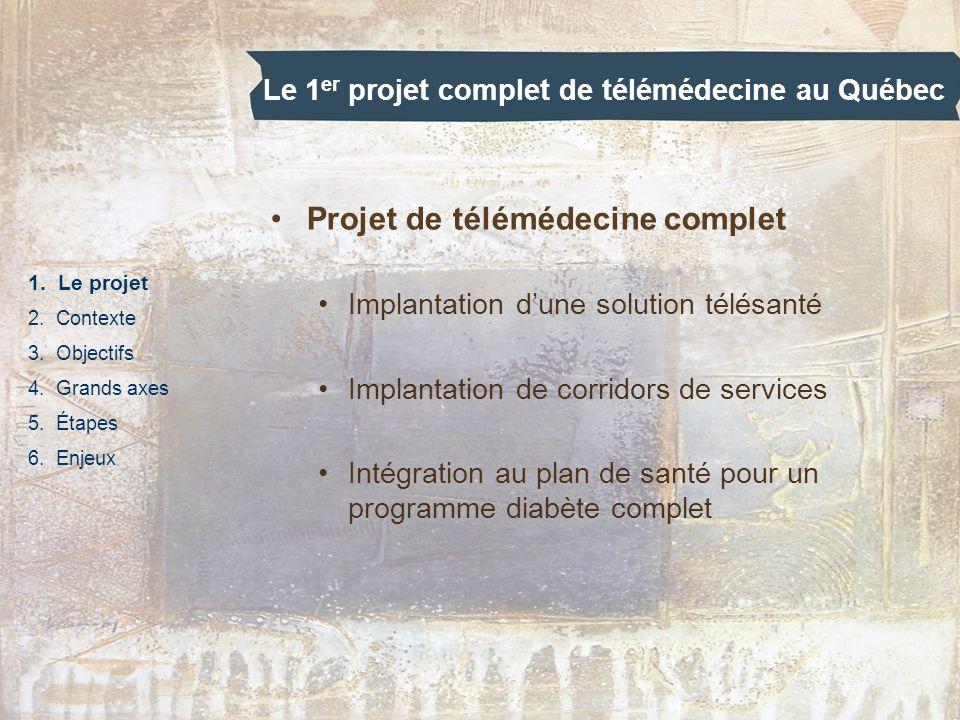 Le 1 er projet complet de télémédecine au Québec 1. Le projet 2. Contexte 3. Objectifs 4. Grands axes 5. Étapes 6. Enjeux Projet de télémédecine compl