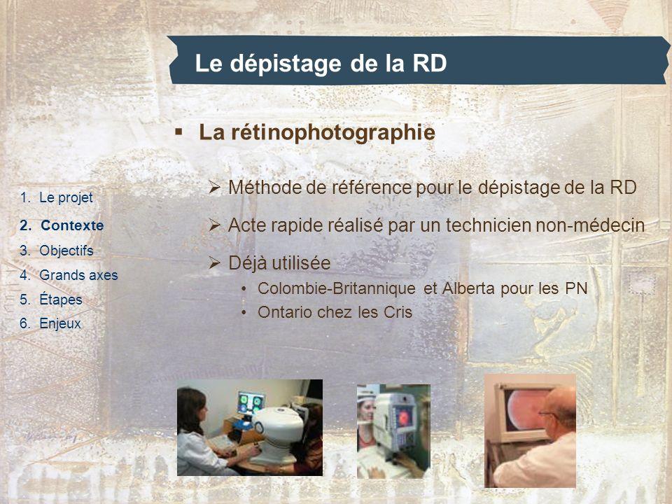 Le dépistage de la RD 1. Le projet 2. Contexte 3. Objectifs 4. Grands axes 5. Étapes 6. Enjeux La rétinophotographie Méthode de référence pour le dépi