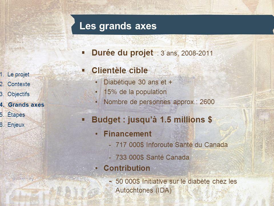 Les grands axes 1. Le projet 2. Contexte 3. Objectifs 4. Grands axes 5. Étapes 6. Enjeux Durée du projet : 3 ans, 2008-2011 Clientèle cible Diabétique